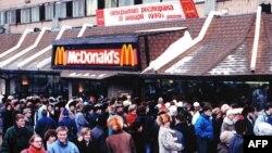 Открытие первого Макдоналдса в СССР, 31 января 1990 года, Москва