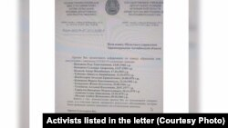 Kazakhstan - A letter addressed to healthcare department that show the police is requesting information civic activists