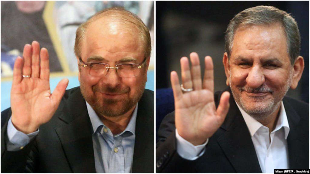Baqer Qalibaf (left) and Eshagh Jahangiri file for the Iranian presidential election.