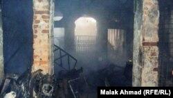 جانب من حريق منطقة السنك ببغداد