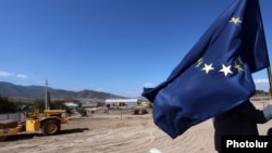 Armenia - The site of a new Armenian-Georgian border checkpoint constructed with the EU's financial assistance, Bagratashen, 27Sep2013.