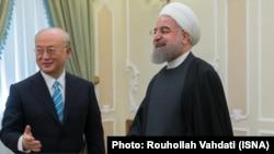 دیدار حسن روحانی رئیس جمهوری ایران و یوکیا آمانو مدیرکل آژانس در تهران