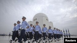 Pakistani Air Force troops marched past the mausoleum of modern Pakistan founder Muhammad Ali Jinnah during ceremonies in September.