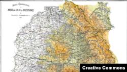 Harta teritoriilor locuite de românii din Imperiul Austro-Ungar: Ardealul (în sensul cel mai larg al termenului) şi Bucovina, 1915. Autor: Colonel Teodorescu.