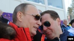 Владимир Путин и Дмитрий Медведев на Олимпиаде в Сочи