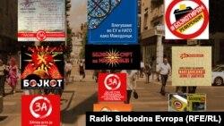 Bilborde në Maqedoni, ku i bëhet thirrje qytetarëve që të bojkotojnë referendumin e 30 shtatorit.