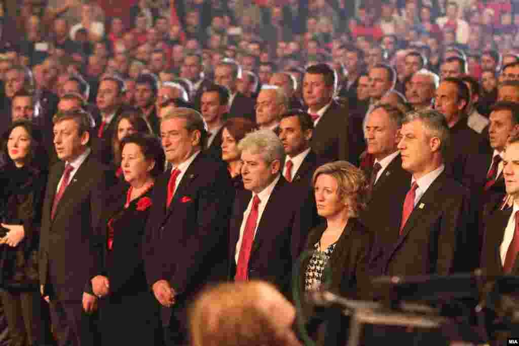 Macedonian Deputy Prime Minister Musa Xhaferi, Macedonian party leader Ali Ahmeti, Albanian Prime Minister Sali Berisha, and Kosovar Prime Minister Hashim Thaci were among the leaders celebrating Albanian independence in Skopje, Macedonia, on November 25.