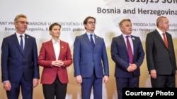 Претседателот Стево Пендаровски заедно со останатите лидери учесници на самитот на Процесот за соработка во Југоисточна Европа