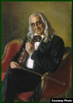 Скрипач Александр Якулов, репродукция картины Александра Шилова, 1997 год