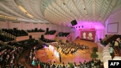 The Unhasu concert is given at the People's Theater in Pyongyang on the occasion of May Day with North Korean leader Kim Jong Un attending.