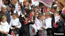 Armenia - Schoolchildren at an election campaign rally held by the ruling Republican Party in Armavir province.