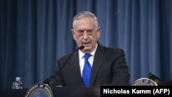U.S. Defense Secretary Jim Mattis holds a press conference at the Pentagon in Washington on August 28