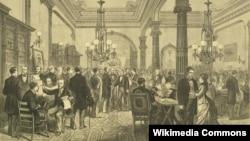 Президентские выборы 1876 года в США. Приемная кандидата демократов губернатора штата Нью-Йорк Сэмюэла Тилдена в ожидании объявления результатов голосования. Тилден – в центре, пожимает руку.
