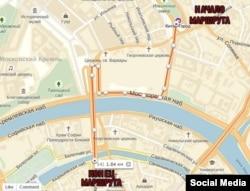 Traseul marșului de astăzi de la Moscova