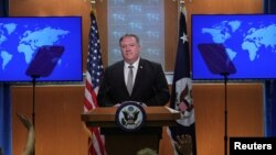 U.S. Secretary of State Mike Pompeo takes questions during a news conference at the State Department in Washington, U.S., July 8, 2020.