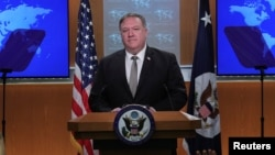 U.S. Secretary of State Mike Pompeo takes questions during a news conference at the State Department in Washington on July 8.