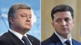Ukrainanyň häzirki prezidenti Petro Poroşenko we täze syýasatçy Wolodymyr Zelenskiý