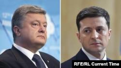 Петро Порошенко (ліворуч) і Володимир Зеленський (праворуч)