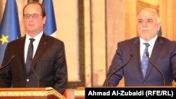المؤتمر الصحفي المشترك لرئيس الوزراء العراقي حيدر العبادي والرئيس الفرنسي فرانسوا هولاند - بغجدا 12 ايلول 2014