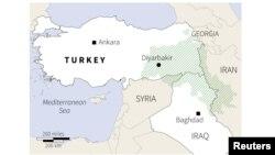 Түркия мен Ирактың күрдтер тұратын аймақтары жасылмен белгіленген.