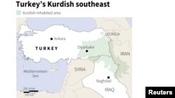 Reutersin hazırladığı Türkiyə və regionda kürdlərin yayılma arealını göstərən xəritə