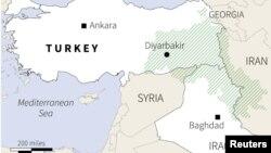 مخطط لوجود الكرد في تركيا وسوريا والعراق وايران