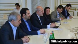 Armenia - Iranian Energy Minister Hamid Chitchian (C) meets with Armenian Prime Minister Hovik Abrahamian, Yerevan, 12Apr2016.