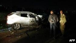 نمایی از خودروی مرد فلسطینی که با آن سربازان اسرائیلی را زیر گرفت.