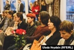 Падчас прэзэнтацыі кнігі «Сьвятлана Алексіевіч. 100 цытатаў на Свабодзе» 15 сакавіка