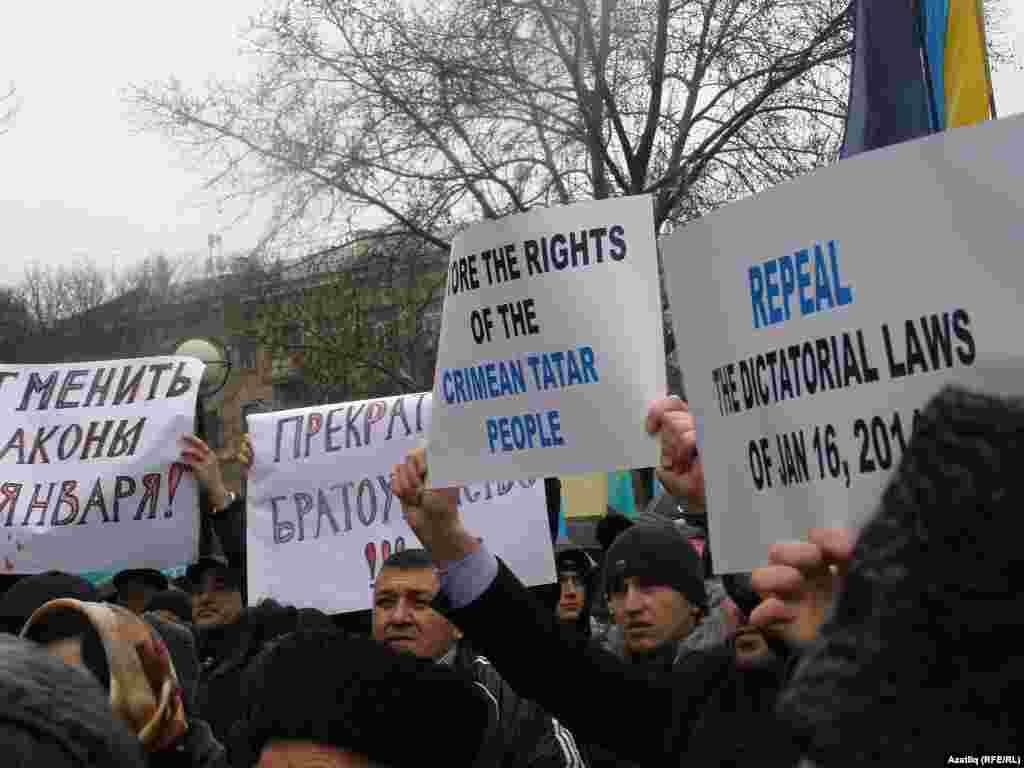 Акмәчәттә кырымтатарМәҗлесе оештырган митинг