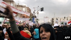 Yemenis protest against the administration of President Ali Abdullah Saleh in Sanaa on March 8, when at least two Yemenis are reported to have died in connection with unrest.