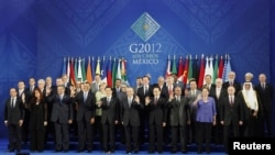 Leaders of the G20 nations at their summit in Los Cabos, Mexico.