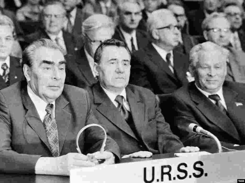 Russia – (from left to right) Soviet leader Leonid Brezhnev and Soviet Union delegation member Andrei Gromiko and Konstantin Chernenko at a meeting on security and cooperation in Europe, Helsinki, 30Jul1975 - rob2007