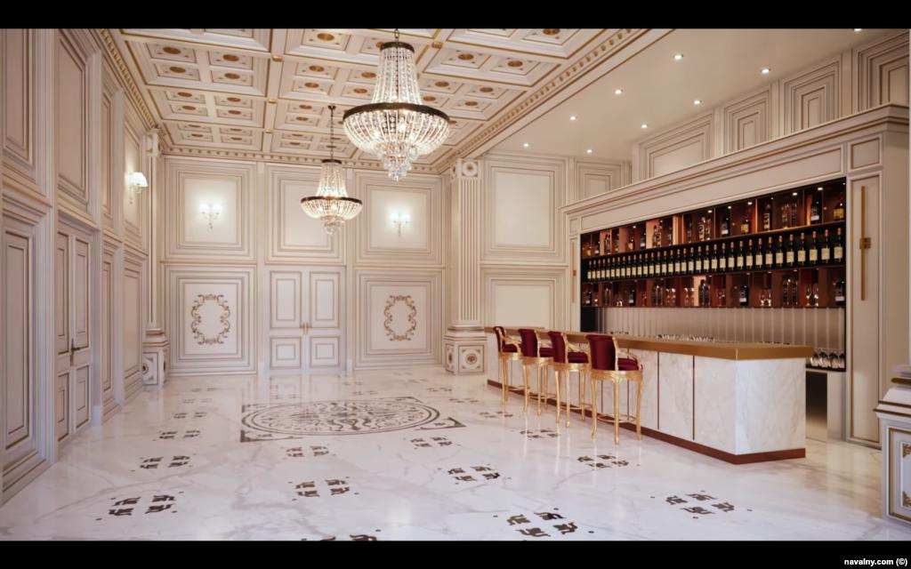 Візуалізація бару в палаці, облицьованого мармуром. Повідомляється, що велика частина меблів була закуплена у розкішних італійських брендів, які настільки ексклюзивні, що їхні каталоги потенційні клієнти повинні замовляти особисто