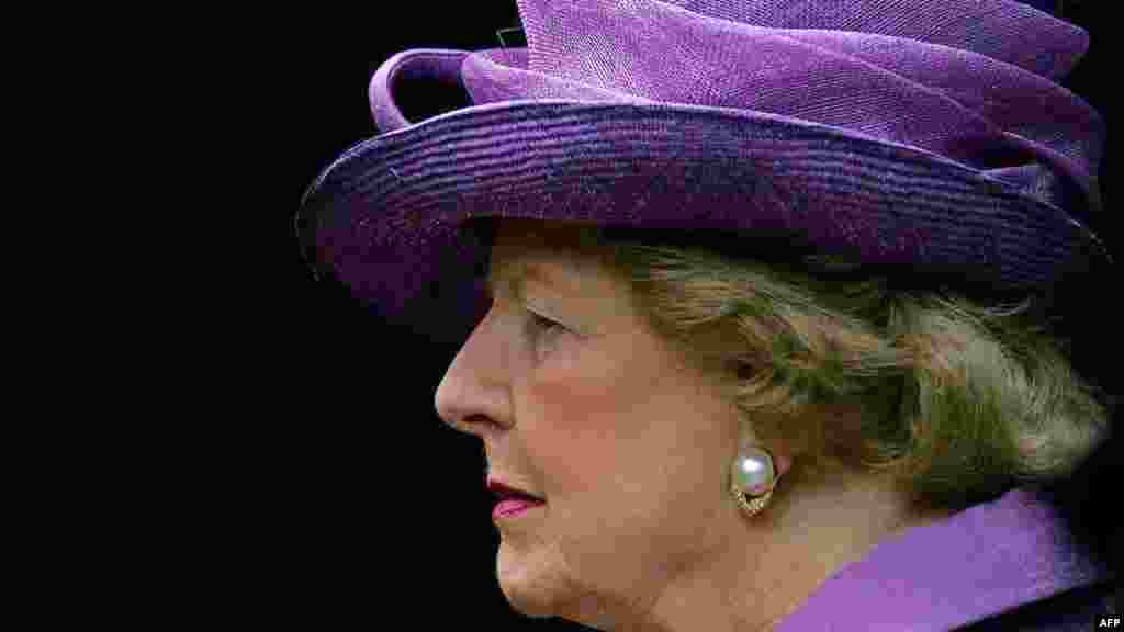 Margaret Thatcher attends a church service to mark the 25th anniversary of the Falkland Islands' liberation in June 2007.