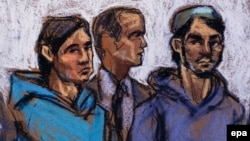 A courtroom sketch shows Akhror Saidakhmetov (left) of Kazakhstan and Abdurasul Hasanovich Juraboev (right) of Uzbekistan, and a court interpreter in federal court in New York on February 25.