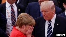 Cancelara germană Angela Merkel și președintele american Donald Trump, G20, Hamburg, 7 iulie 2017