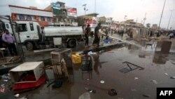 محل انفجارها در بازار خرید و فروش تلفن همراه در شهرک صدر