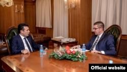Средба на премиерот Зоран Заев со новиот претседател на ВМРО-ДПМНЕ, Христијан Мицкоски во Владата.