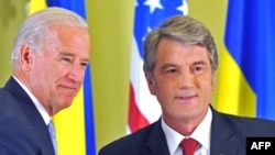 """We do not recognize -- and I want to reiterate it -- any sphere of influence,"" U.S. Vice President Joe Biden (left) told Ukrainian President Viktor Yushchenko."