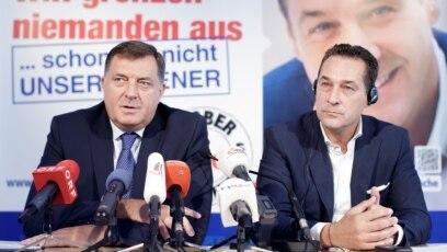 Tadašnji predsjednik Republike Srpske i lider SNSD-a Milorad Dodik i i lider austrijske Slobodarske partije Heinz-Christian Strache u Beču, 1. septembra 2015. godine.