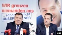Predsjednik Republike Srpske Milorad Dodik i vođa austrisjek Slobodarske stranke Heinz-Christian Strache, septmebar 2015.