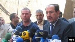 نوری المالکی در کنفرانس خبری از حمایت آیت الله سیستانی از ترمیم کابینه خبر داد