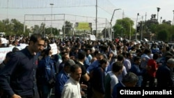 Iranian steel workers protesting in the southern city of Ahvaz for unpaid wages. March 2017