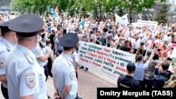 Несогласованная акция в поддержку арестованного экс-губернатора Хабаровского края Фургала