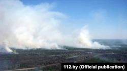 Пажар у Хойніцкім раёне, фота МНС