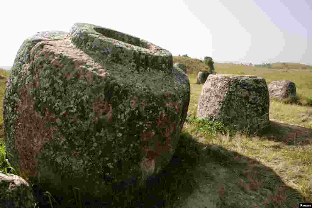 Giant stone vessels are seen at the Plain of Jars near Phonsavan in Laos's Xieng Khouang Province.