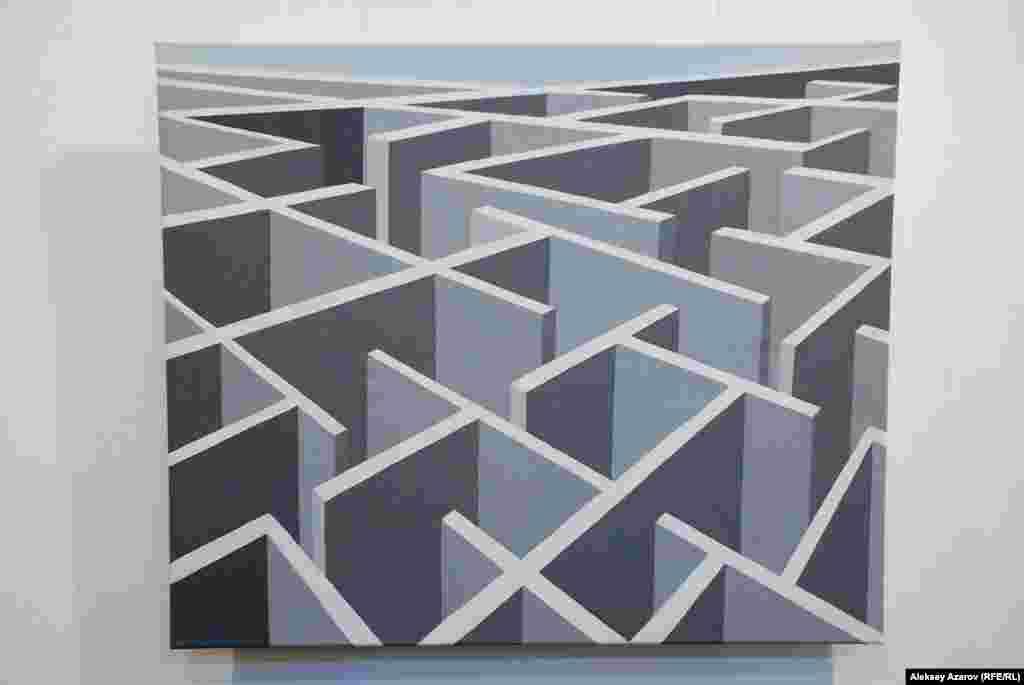 «Лабиринт» Вероники Кубиковой отражает монотонные бетонные здания в микрорайонах Минска, среди которых трудно ориентироваться.