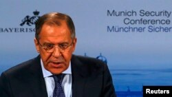 Russian Foreign Minister Sergei Lavrov addresses the 51st Munich Security Conference in Munich on February 7.