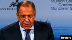 Germany -- Russian Foreign Minister Sergei Lavrov addresses during the 51st Munich Security Conference in Munich, February 7, 2015